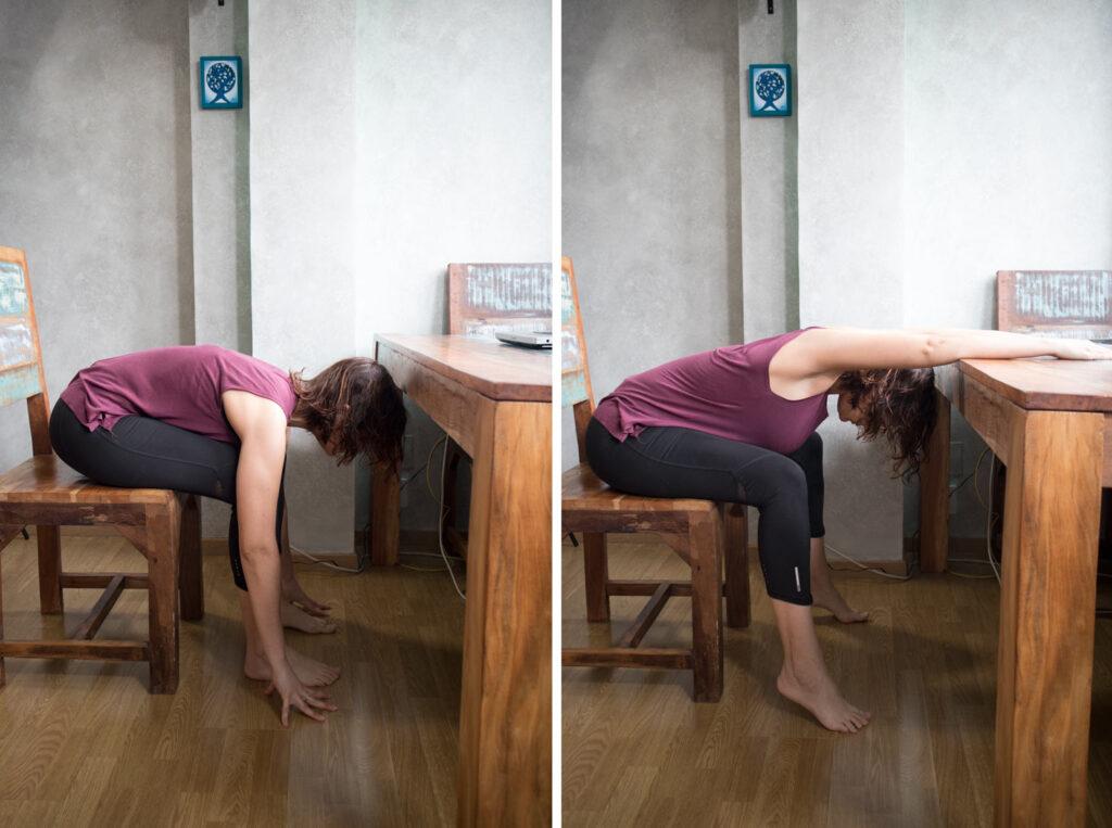 Postura de flexión en silla